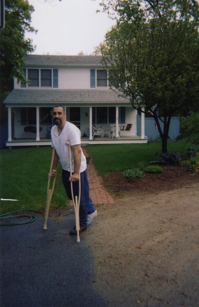 on crutches